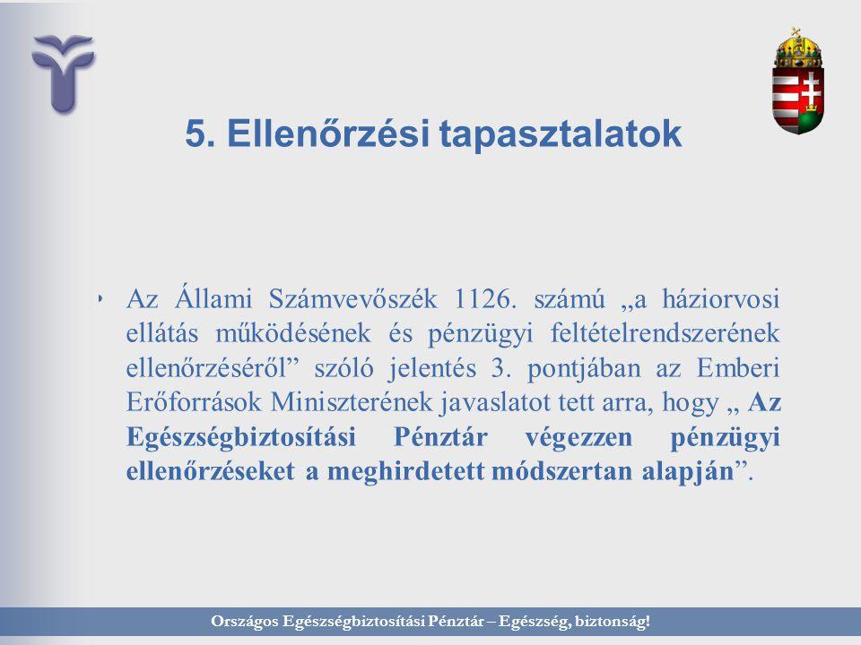 """5. Ellenőrzési tapasztalatok Az Állami Számvevőszék 1126. számú """"a háziorvosi ellátás működésének és pénzügyi feltételrendszerének ellenőrzéséről"""" szó"""