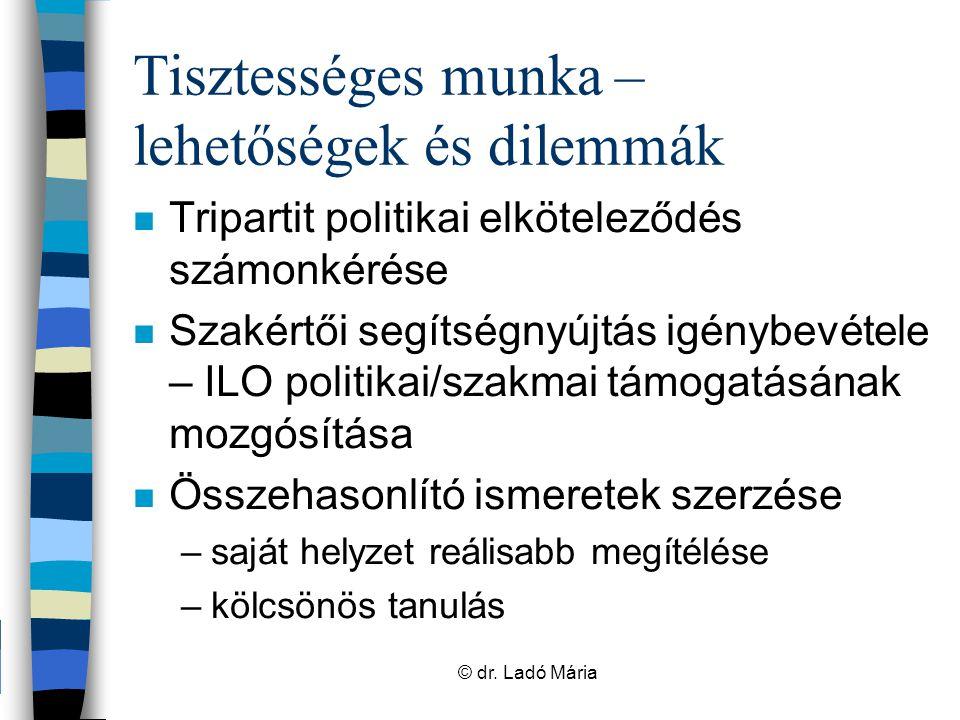 Európai szociális párbeszéd – a közszféra szempontjából n Európai szociális párbeszéd kiépülése és fejlődése –alapító tagállamok: fejlett (bipartit) munkaügyi kapcsolatok és erőteljes kollektív szerződéses szabályozás –jogi alapok az EUSz-ben és az EUMSz- ben –közszféra egyre több területét fedi le © dr.