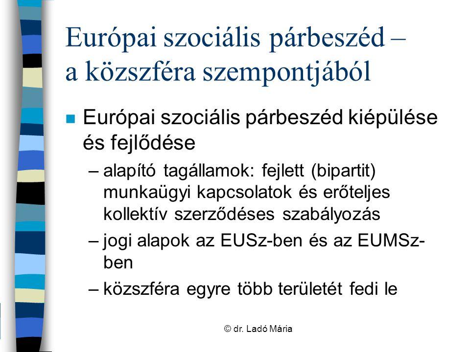 """Európai szociális párbeszéd – a közszféra szempontjából n Munka világára vonatkozó jogalkotás –konzultáció –szociális partnerek """"kvázi jogalkotók –Végeredmény: szociális partnerek megállapodását közreadó irányelvek; autonóm megállapodások © dr."""