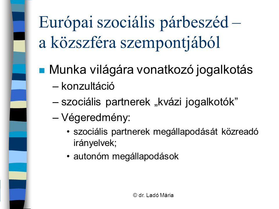 Európai szociális párbeszéd – a közszféra szempontjából n Közszféra Ágazati Párbeszéd Bizottságai Európai Szakszervezeti Szövetség Európai Munkáltatói Szövetség Helyi és regionális kormányzatokEPSUCEMR Kórházak és egészségügyi ellátásEPSUHOSPEEM Központi közigazgatásTUNEDEUPAE OktatásETUCEEFEE © dr.