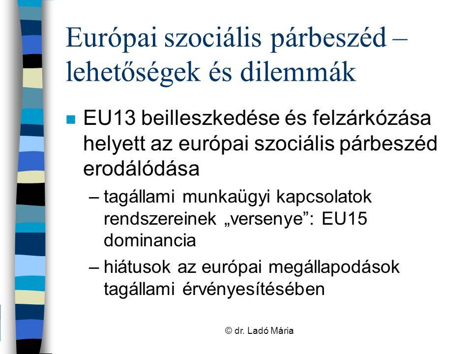 Munka világának szabályozása, a vonatkozó szakpolitikák alakítása az EU-ban Munka világa Jogszabályok Munkafeltételek – Munkahelyi egészség és biztonság – Nemek közötti egyenlőség – … Nyitott koordinációs mechanizmus Foglalkoztatás Társadalmi befogadás/ szociális védelem Pénzügyi eszközök Európai szociális alap (ESZA) Európai globalizációs alap (EGA) Progress Európai szociális párbeszéd © dr.
