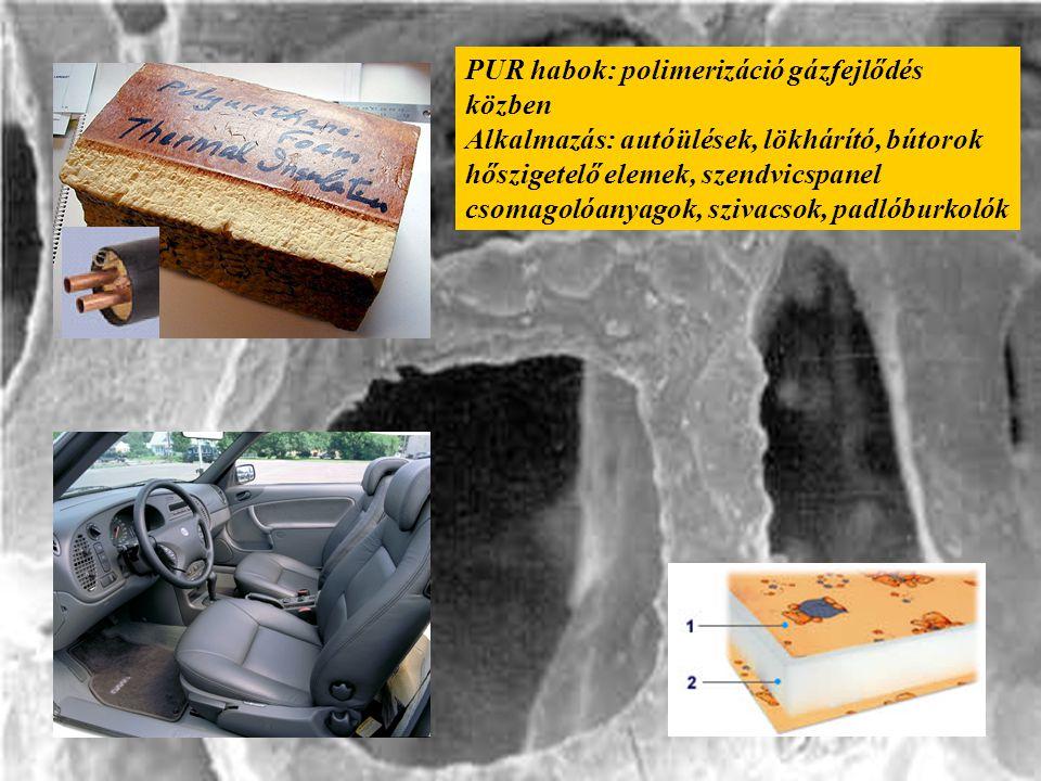 PUR habok: polimerizáció gázfejlődés közben Alkalmazás: autóülések, lökhárító, bútorok hőszigetelő elemek, szendvicspanel csomagolóanyagok, szivacsok, padlóburkolók