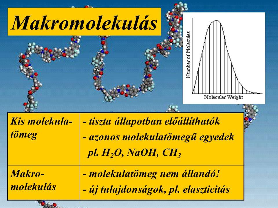 Makromolekulás Kis molekula- tömeg - tiszta állapotban előállíthatók - azonos molekulatömegű egyedek pl.