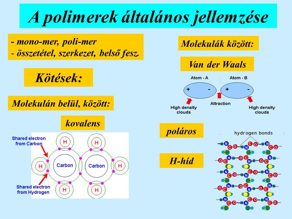 Poliamidok PA Nylon részben kristályos plasztomer poliamid, diamin és dikarbonsav polimerizálva CO és NH csoportok között H-hidak alakulnak ki Hőm.: -40 és +120 ºC-között jó tulajdonságok Mechanika: szil.