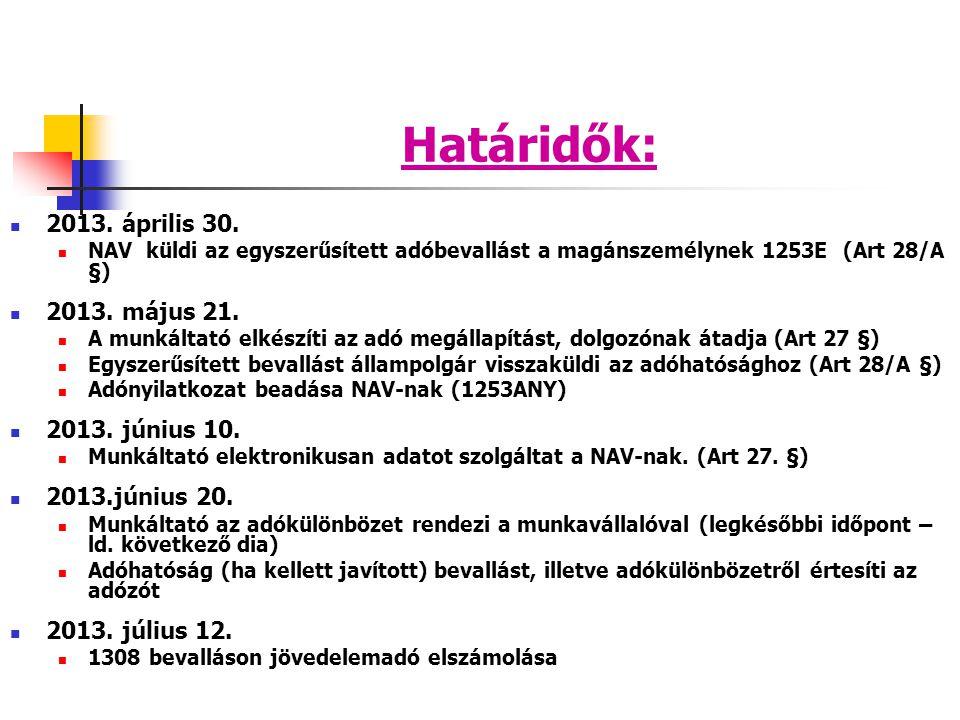 Határidők: 2013. április 30. NAV küldi az egyszerűsített adóbevallást a magánszemélynek 1253E (Art 28/A §) 2013. május 21. A munkáltató elkészíti az a