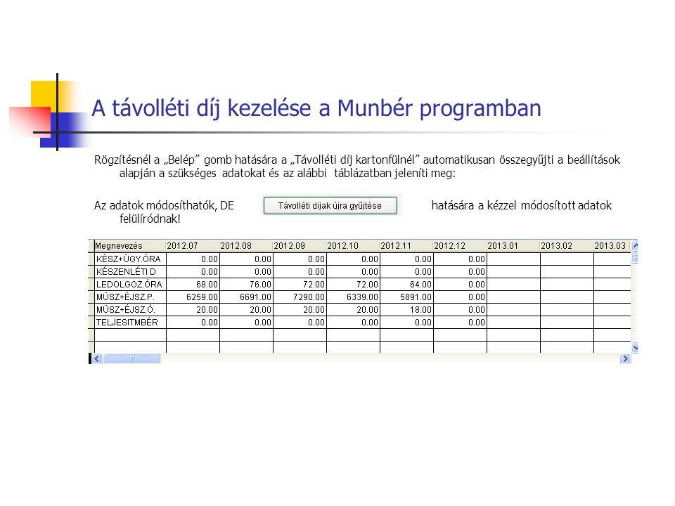 A távolléti díj kezelése a Munbér programban A számfejtés során a távolléti díj számításának lépései megjeleníthetők: