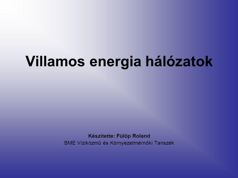 Villamos energia hálózatok Készítette: Fülöp Roland BME Víziközmű és Környezetmérnöki Tanszék