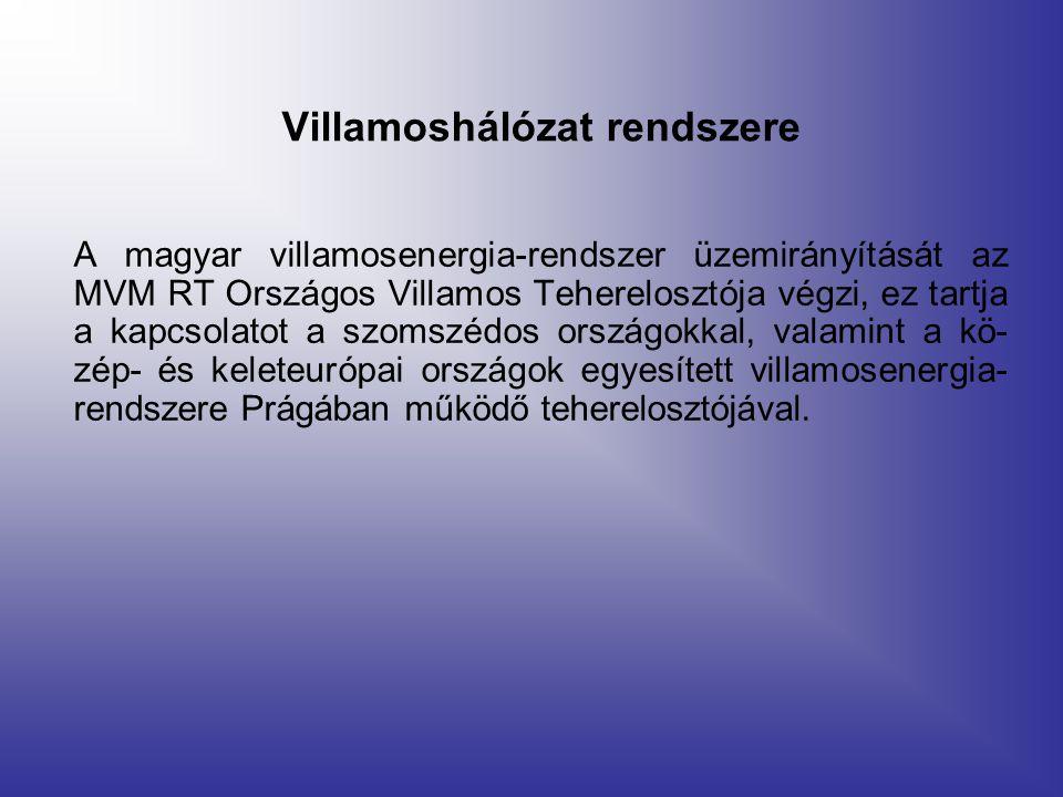 Villamoshálózat rendszere A magyar villamosenergia-rendszer üzemirányítását az MVM RT Országos Villamos Teherelosztója végzi, ez tartja a kapcsolatot