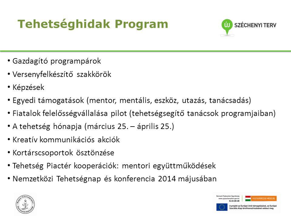 Tehetséghidak Program Gazdagító programpárok Versenyfelkészítő szakkörök Képzések Egyedi támogatások (mentor, mentális, eszköz, utazás, tanácsadás) Fi