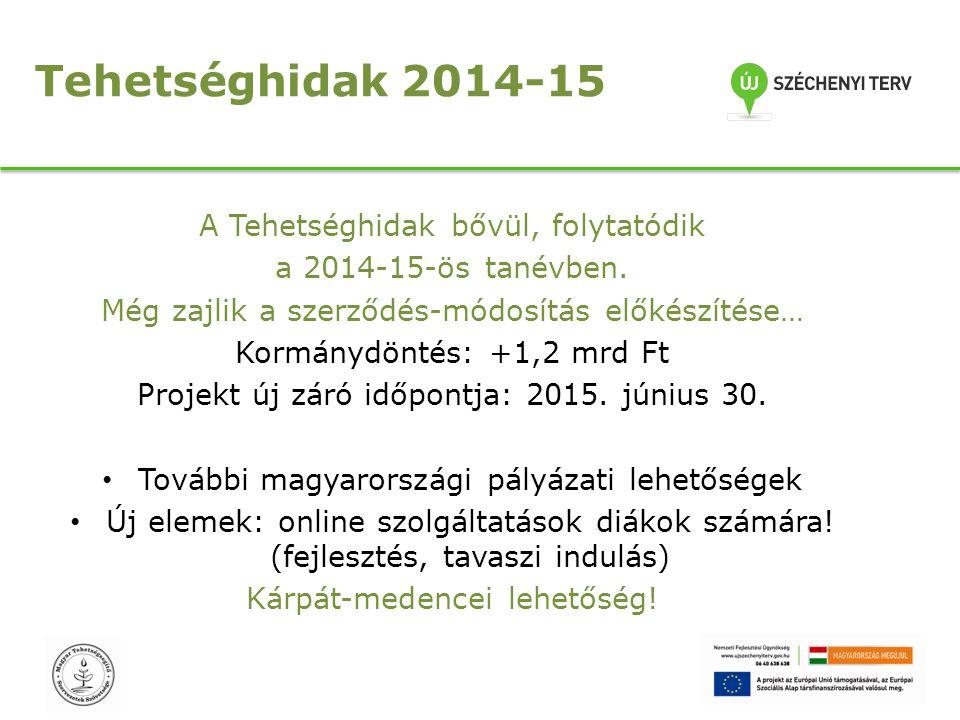 Tehetséghidak 2014-15 A Tehetséghidak bővül, folytatódik a 2014-15-ös tanévben. Még zajlik a szerződés-módosítás előkészítése… Kormánydöntés: +1,2 mrd