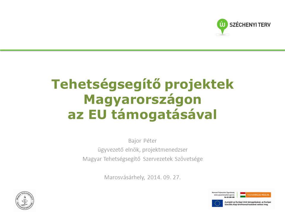 Tehetségsegítő projektek Magyarországon az EU támogatásával Bajor Péter ügyvezető elnök, projektmenedzser Magyar Tehetségsegítő Szervezetek Szövetsége