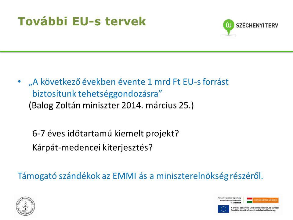 """További EU-s tervek """"A következő években évente 1 mrd Ft EU-s forrást biztosítunk tehetséggondozásra"""" (Balog Zoltán miniszter 2014. március 25.) 6-7 é"""