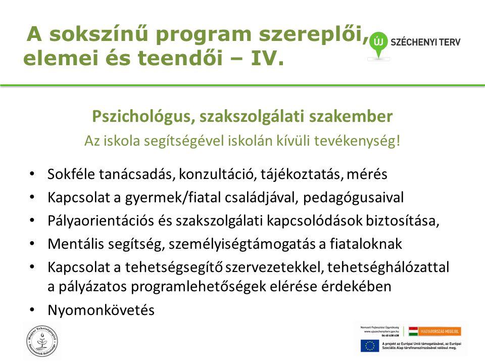 A sokszínű program szereplői, elemei és teendői – IV. Pszichológus, szakszolgálati szakember Az iskola segítségével iskolán kívüli tevékenység! Sokfél