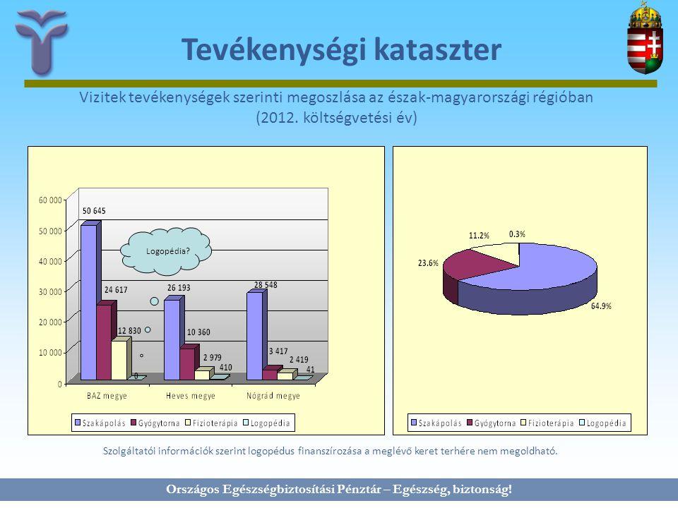 Országos Egészségbiztosítási Pénztár – Egészség, biztonság! Tevékenységi kataszter Vizitek tevékenységek szerinti megoszlása az észak-magyarországi ré