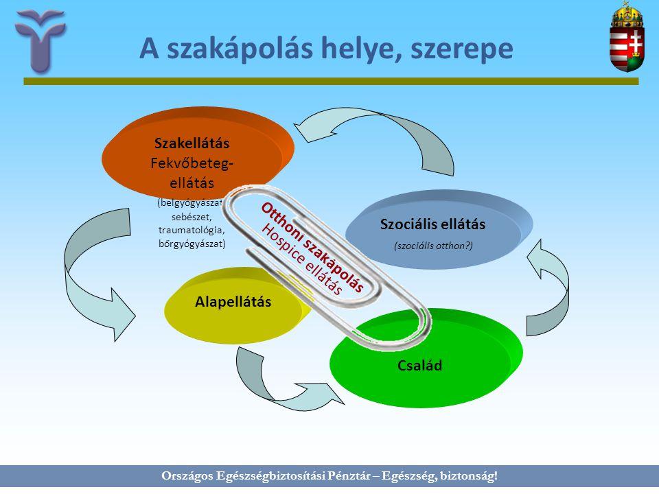 Országos Egészségbiztosítási Pénztár – Egészség, biztonság! A szakápolás helye, szerepe Család Alapellátás Otthoni szakápolás Hospice ellátás Szociáli