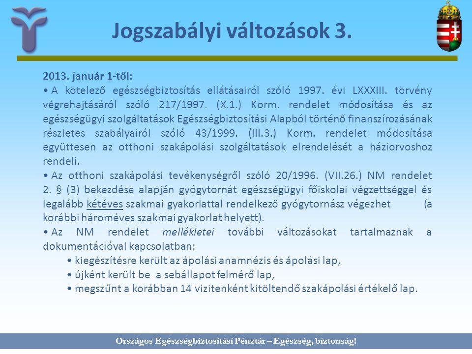 Országos Egészségbiztosítási Pénztár – Egészség, biztonság! Jogszabályi változások 3. 2013. január 1-től: A kötelező egészségbiztosítás ellátásairól s