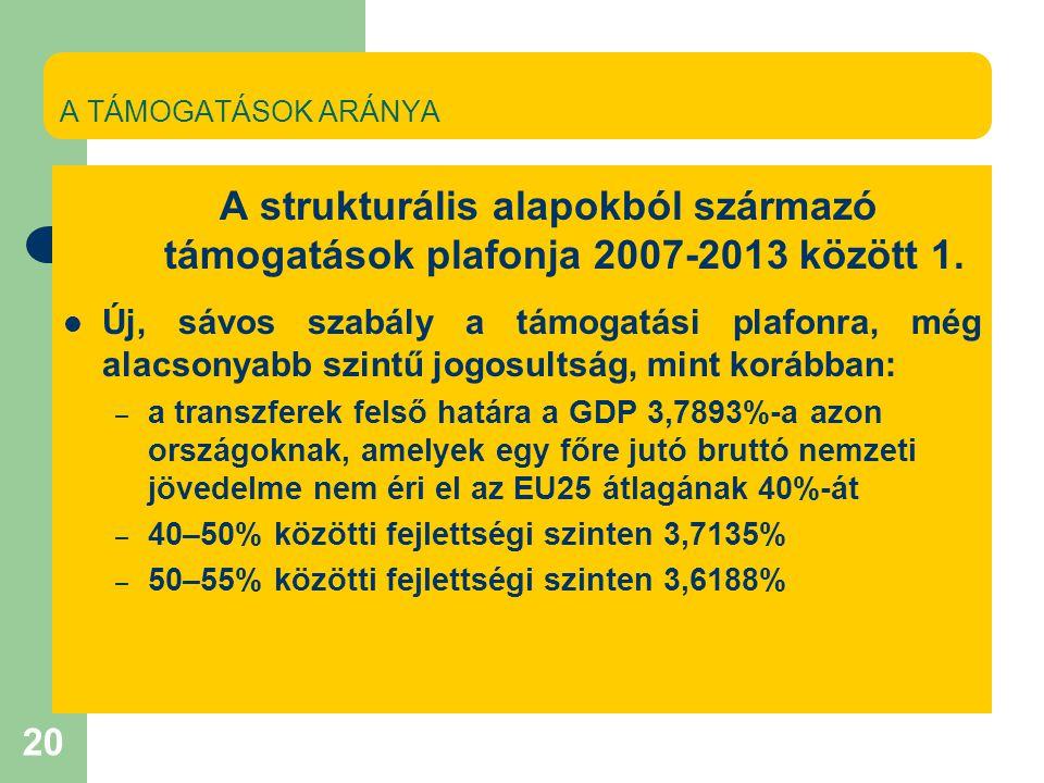 20 A TÁMOGATÁSOK ARÁNYA A strukturális alapokból származó támogatások plafonja 2007-2013 között 1.