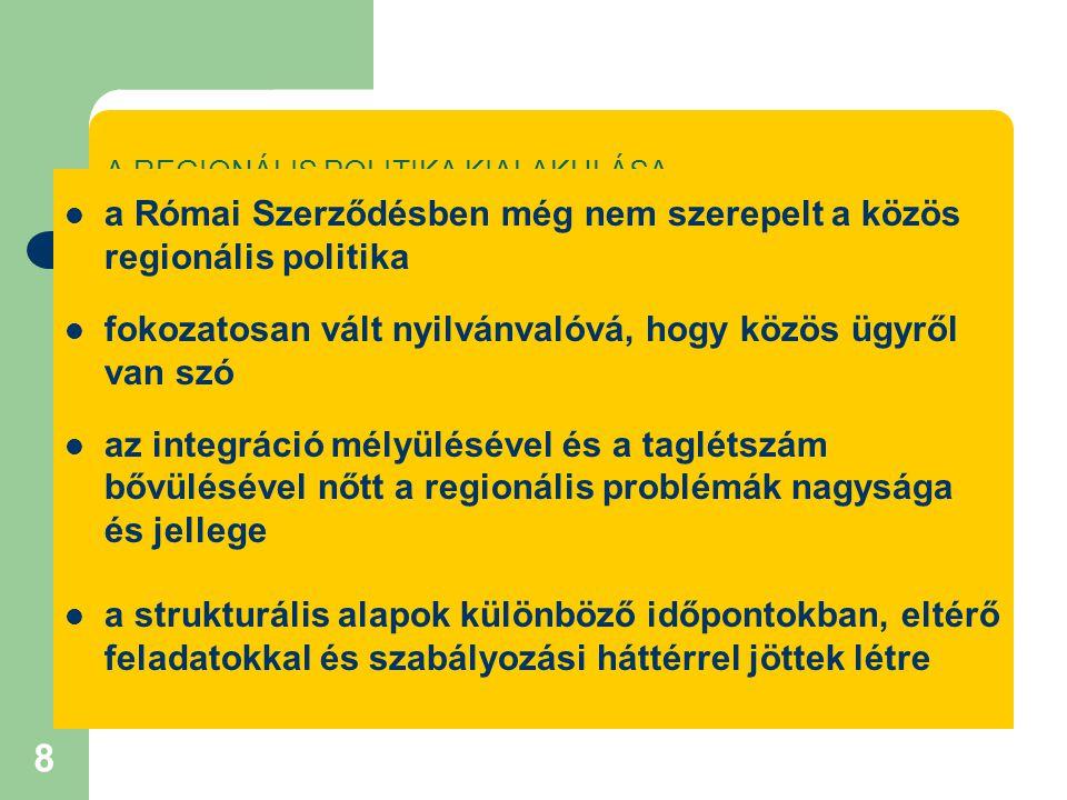 8 A REGIONÁLIS POLITIKA KIALAKULÁSA a Római Szerződésben még nem szerepelt a közös regionális politika fokozatosan vált nyilvánvalóvá, hogy közös ügyről van szó az integráció mélyülésével és a taglétszám bővülésével nőtt a regionális problémák nagysága és jellege a strukturális alapok különböző időpontokban, eltérő feladatokkal és szabályozási háttérrel jöttek létre