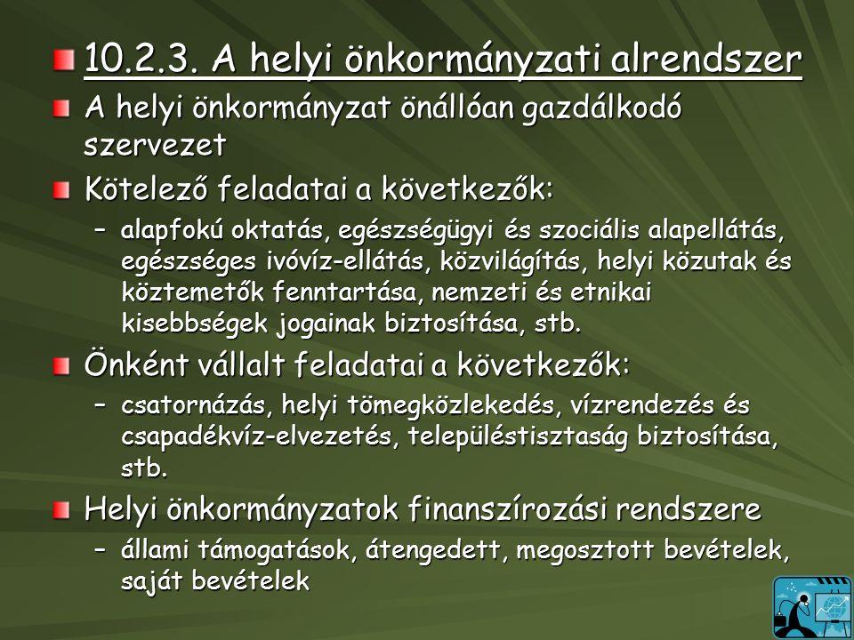 10.2.3. A helyi önkormányzati alrendszer A helyi önkormányzat önállóan gazdálkodó szervezet Kötelező feladatai a következők: –alapfokú oktatás, egészs