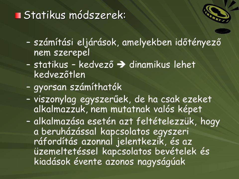 Statikus módszerek: – –számítási eljárások, amelyekben időtényező nem szerepel – –statikus – kedvező  dinamikus lehet kedvezőtlen – –gyorsan számítha
