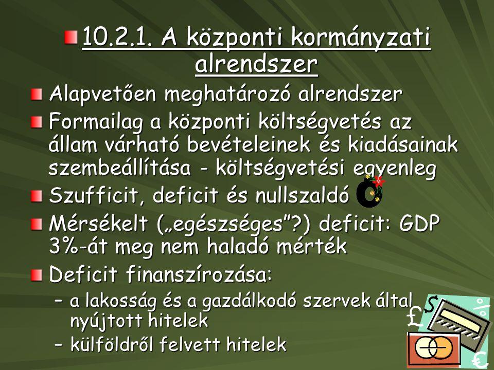 10.2.1. A központi kormányzati alrendszer Alapvetően meghatározó alrendszer Formailag a központi költségvetés az állam várható bevételeinek és kiadása