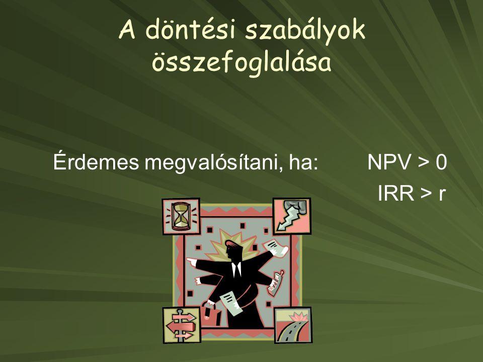A döntési szabályok összefoglalása Érdemes megvalósítani, ha: NPV > 0 IRR > r