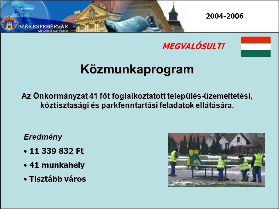 Közmunkaprogram Az Önkormányzat 41 főt foglalkoztatott település-üzemeltetési, köztisztasági és parkfenntartási feladatok ellátására. Eredmény 11 339
