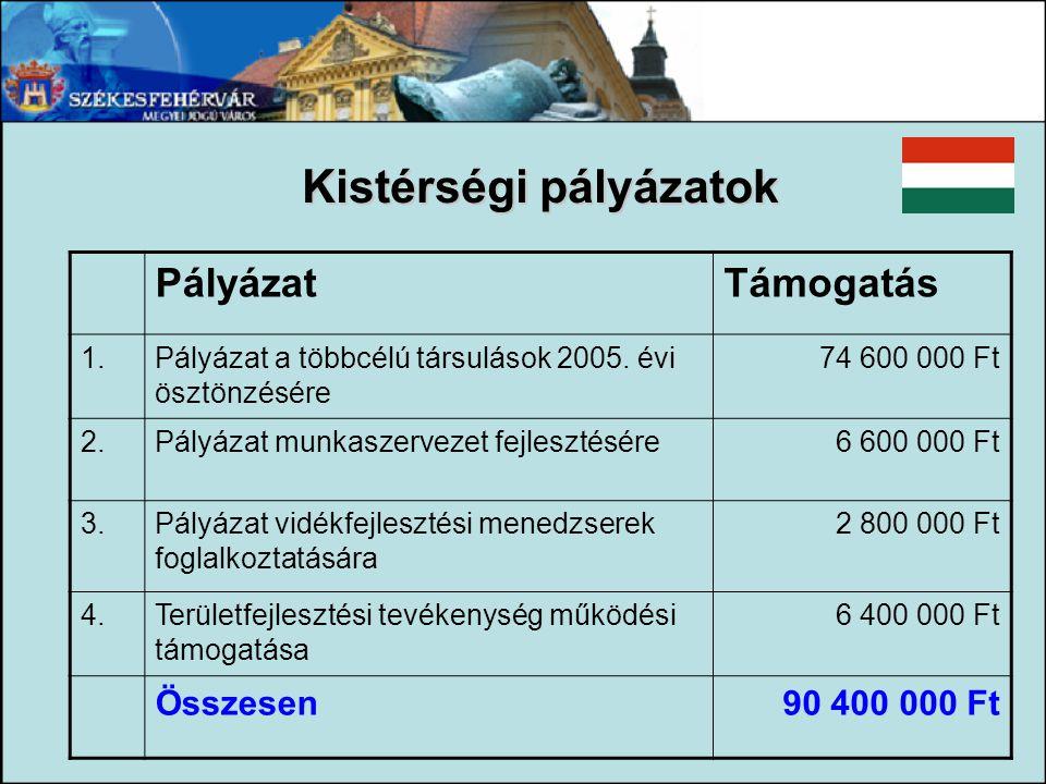 PályázatTámogatás 1.Pályázat a többcélú társulások 2005. évi ösztönzésére 74 600 000 Ft 2.Pályázat munkaszervezet fejlesztésére6 600 000 Ft 3.Pályázat