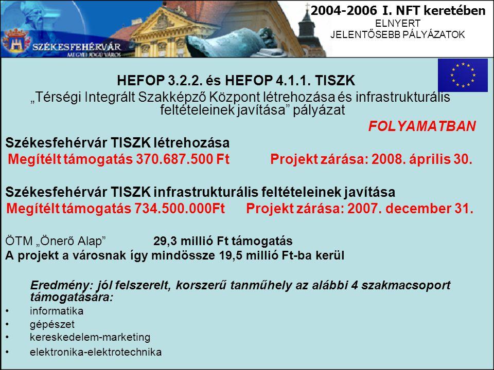"""HEFOP 3.2.2. és HEFOP 4.1.1. TISZK """"Térségi Integrált Szakképző Központ létrehozása és infrastrukturális feltételeinek javítása"""" pályázat FOLYAMATBAN"""