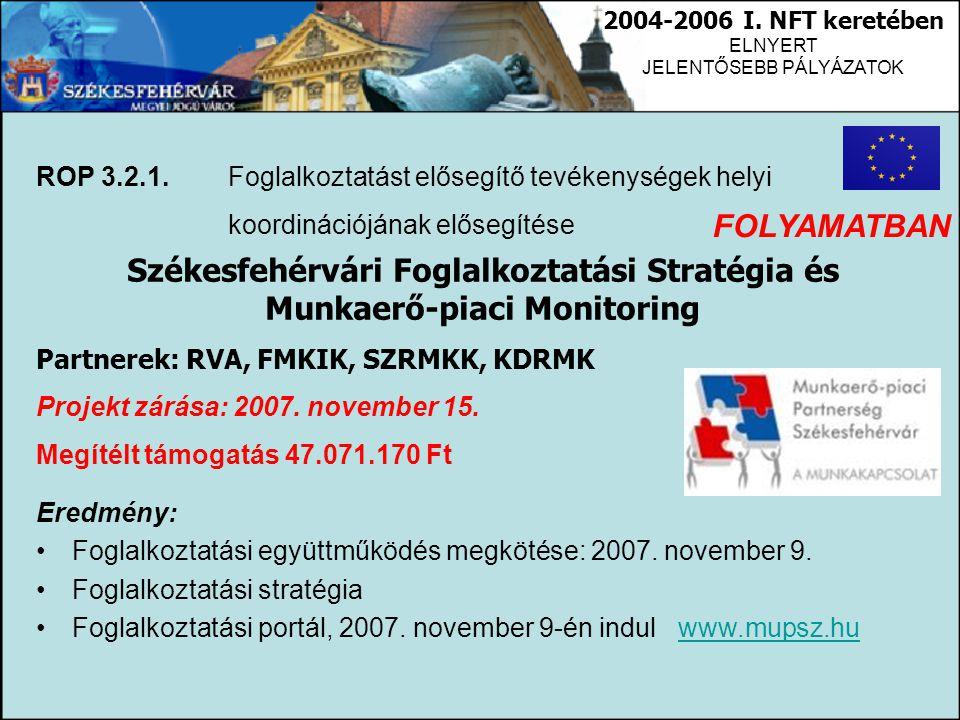 2004-2006 I. NFT keretében ELNYERT JELENTŐSEBB PÁLYÁZATOK ROP 3.2.1. Foglalkoztatást elősegítő tevékenységek helyi koordinációjának elősegítése Székes