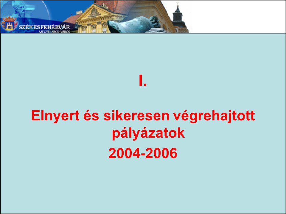 I. Elnyert és sikeresen végrehajtott pályázatok 2004-2006