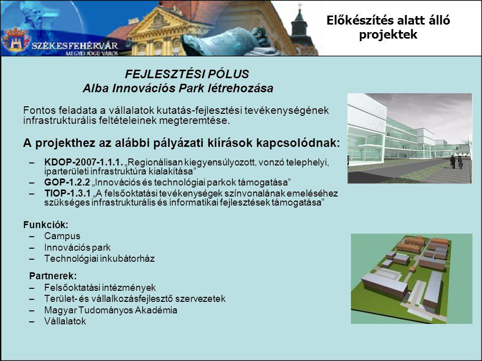 FEJLESZTÉSI PÓLUS Alba Innovációs Park létrehozása Fontos feladata a vállalatok kutatás-fejlesztési tevékenységének infrastrukturális feltételeinek me