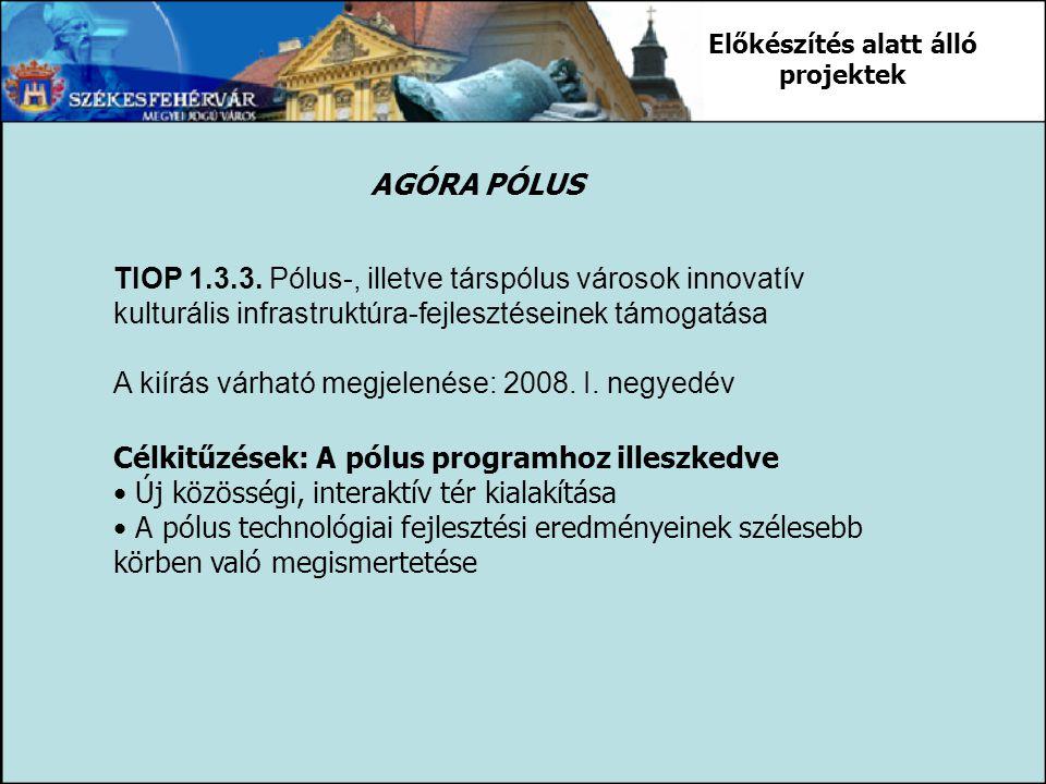 TIOP 1.3.3. Pólus-, illetve társpólus városok innovatív kulturális infrastruktúra-fejlesztéseinek támogatása A kiírás várható megjelenése: 2008. I. ne