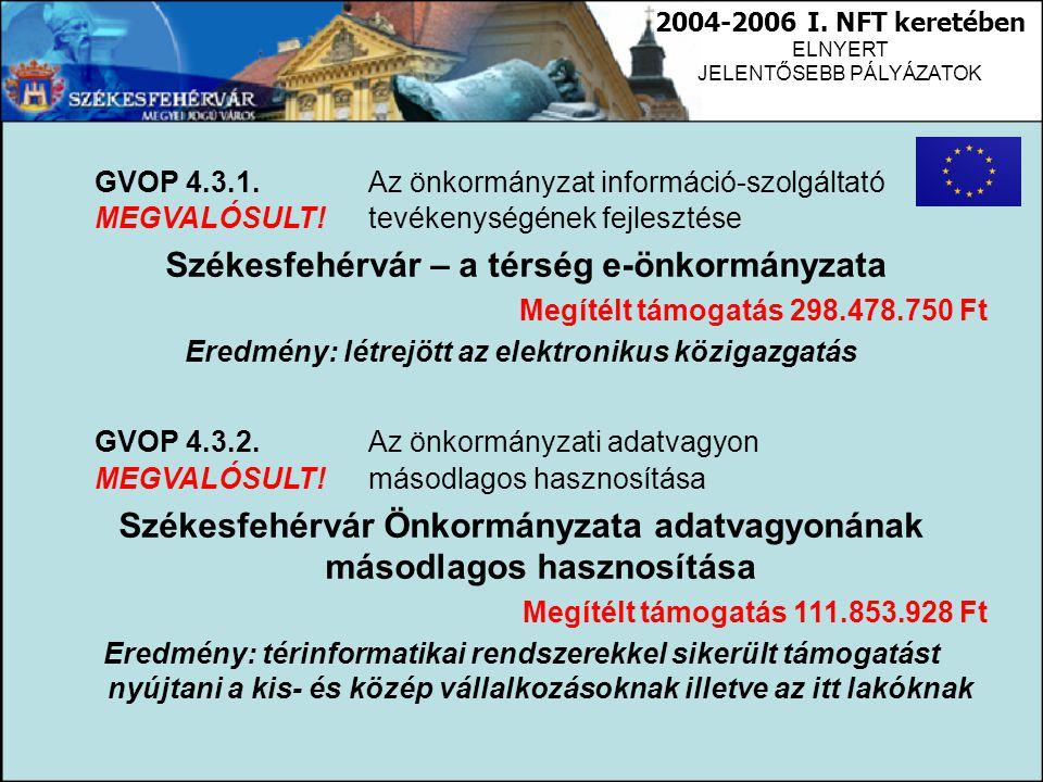 GVOP 4.3.1. Az önkormányzat információ-szolgáltató MEGVALÓSULT!tevékenységének fejlesztése Székesfehérvár – a térség e-önkormányzata Megítélt támogatá