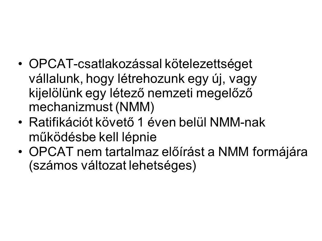 OPCAT-csatlakozással kötelezettséget vállalunk, hogy létrehozunk egy új, vagy kijelölünk egy létező nemzeti megelőző mechanizmust (NMM) Ratifikációt