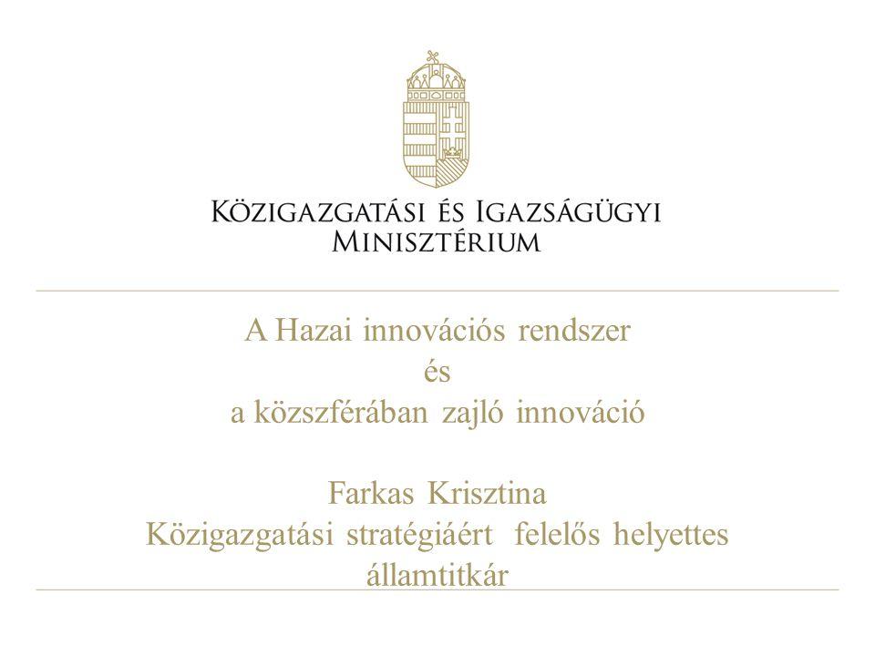 A Hazai innovációs rendszer és a közszférában zajló innováció Farkas Krisztina Közigazgatási stratégiáért felelős helyettes államtitkár
