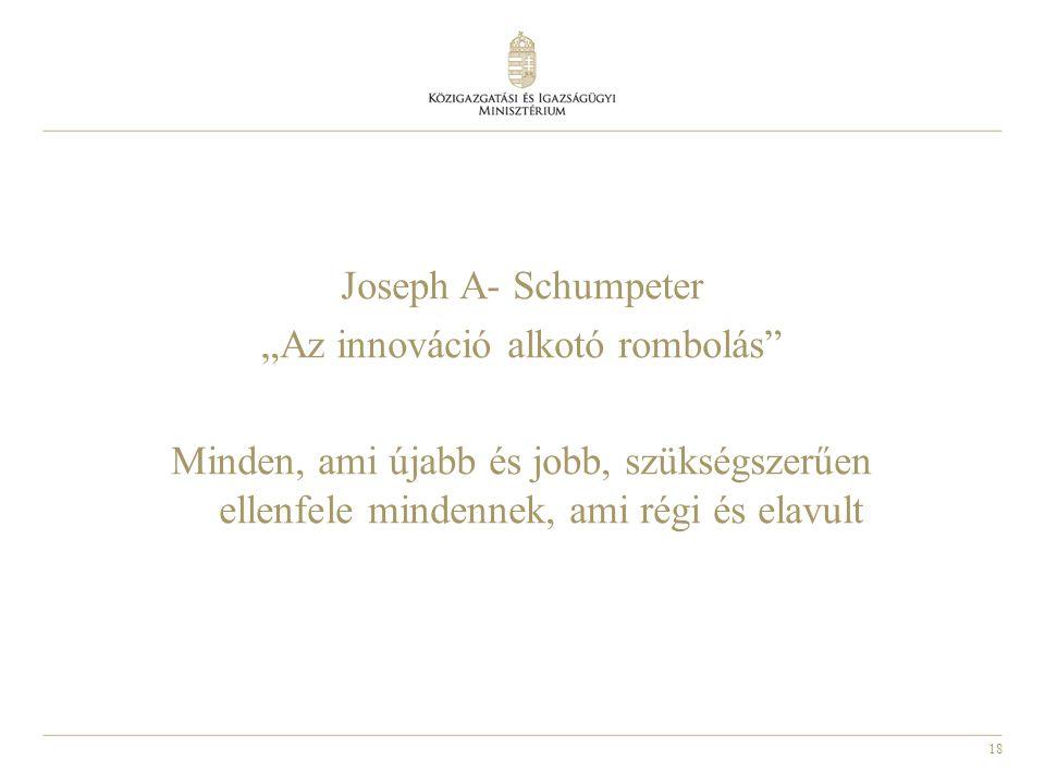 """18 Joseph A- Schumpeter """"Az innováció alkotó rombolás Minden, ami újabb és jobb, szükségszerűen ellenfele mindennek, ami régi és elavult"""