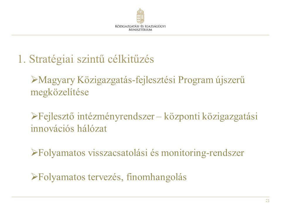 21 1. Stratégiai szintű célkitűzés  Magyary Közigazgatás-fejlesztési Program újszerű megközelítése  Fejlesztő intézményrendszer – központi közigazga