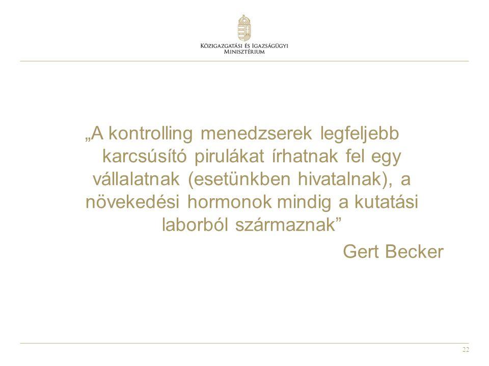 """22 """"A kontrolling menedzserek legfeljebb karcsúsító pirulákat írhatnak fel egy vállalatnak (esetünkben hivatalnak), a növekedési hormonok mindig a kutatási laborból származnak Gert Becker"""
