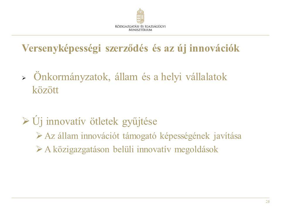 26 Versenyképességi szerződés és az új innovációk  Önkormányzatok, állam és a helyi vállalatok között  Új innovatív ötletek gyűjtése  Az állam innovációt támogató képességének javítása  A közigazgatáson belüli innovatív megoldások