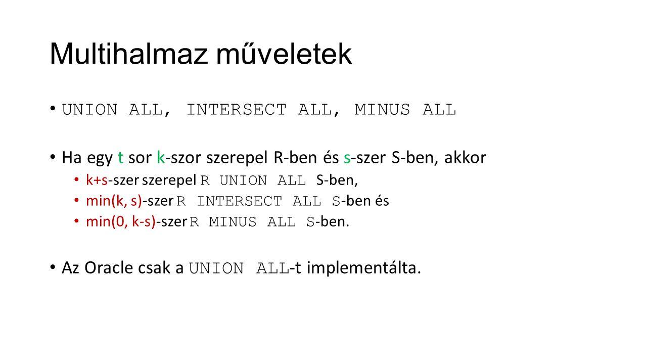 Multihalmaz műveletek UNION ALL, INTERSECT ALL, MINUS ALL Ha egy t sor k-szor szerepel R-ben és s-szer S-ben, akkor k+s-szer szerepel R UNION ALL S-be