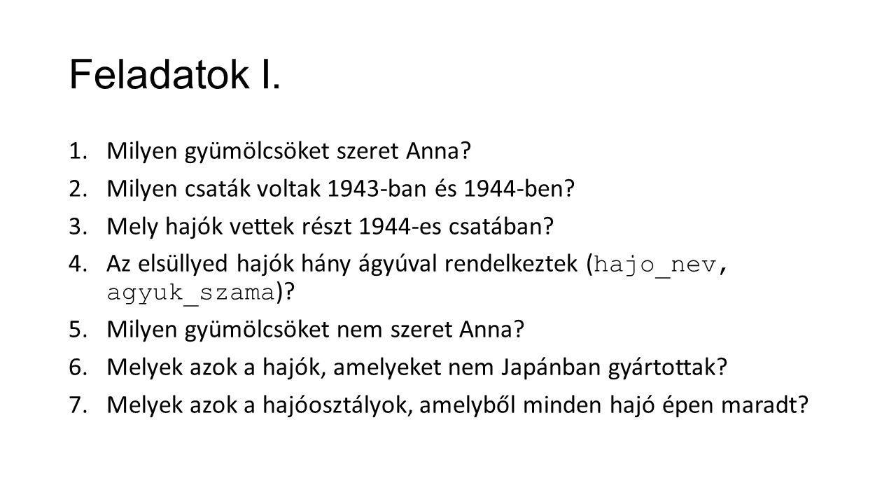 Feladatok I. 1.Milyen gyümölcsöket szeret Anna? 2.Milyen csaták voltak 1943-ban és 1944-ben? 3.Mely hajók vettek részt 1944-es csatában? 4.Az elsüllye