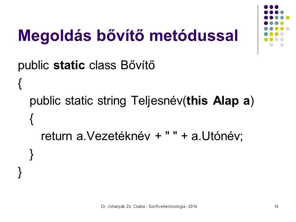 Megoldás bővítő metódussal public static class Bővítő { public static string Teljesnév(this Alap a) { return a.Vezetéknév +