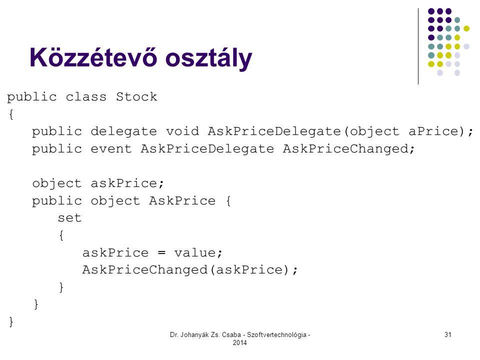 Közzétevő osztály Dr. Johanyák Zs. Csaba - Szoftvertechnológia - 2014 31