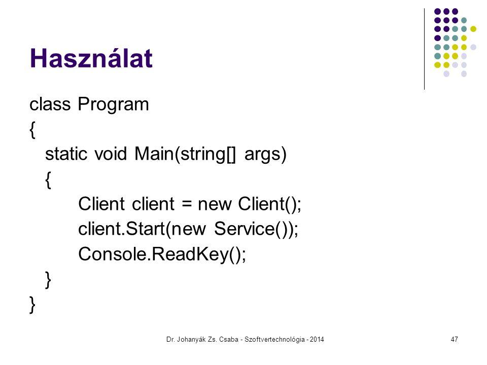 Használat class Program { static void Main(string[] args) { Client client = new Client(); client.Start(new Service()); Console.ReadKey(); } Dr. Johany