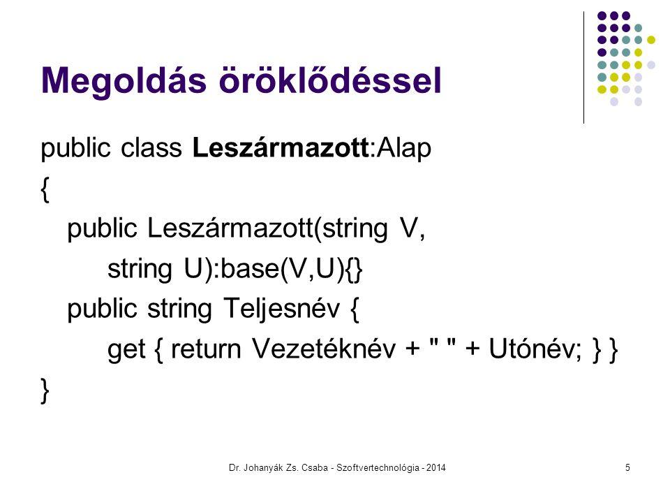 Megoldás öröklődéssel public class Leszármazott:Alap { public Leszármazott(string V, string U):base(V,U){} public string Teljesnév { get { return Veze
