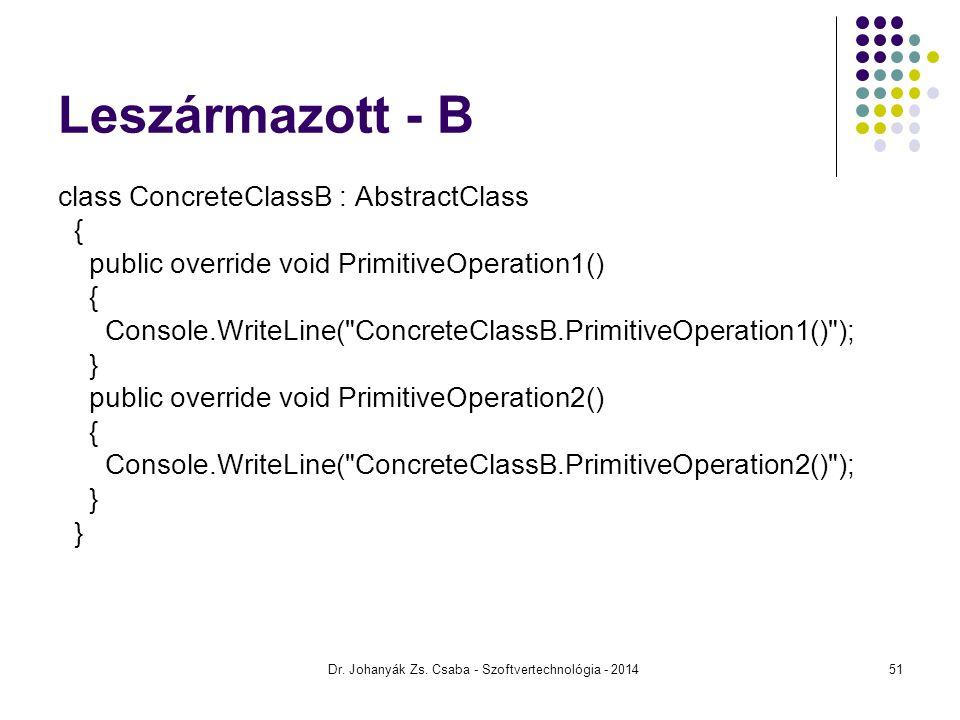 Leszármazott - B class ConcreteClassB : AbstractClass { public override void PrimitiveOperation1() { Console.WriteLine(