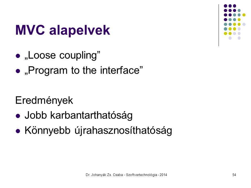 "MVC alapelvek ""Loose coupling ""Program to the interface Eredmények Jobb karbantarthatóság Könnyebb újrahasznosíthatóság Dr."