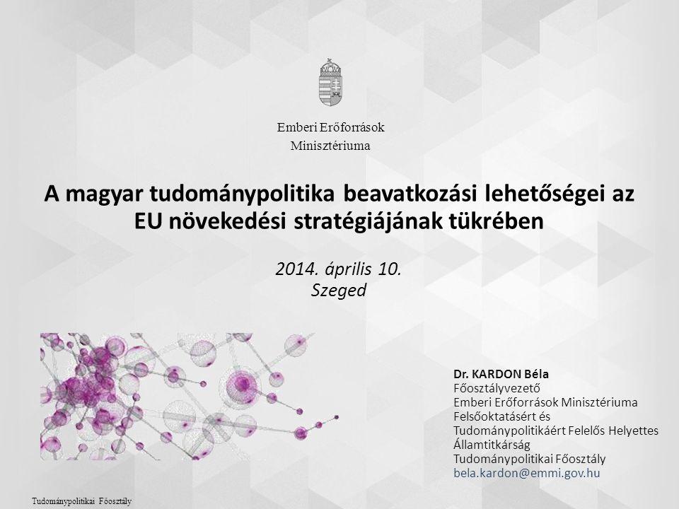A magyar tudománypolitika beavatkozási lehetőségei az EU növekedési stratégiájának tükrében 2014. április 10. Szeged Dr. KARDON Béla Főosztályvezető E