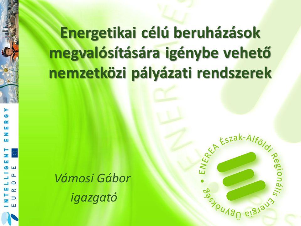 Vámosi Gábor igazgató Energetikai célú beruházások megvalósítására igénybe vehető nemzetközi pályázati rendszerek
